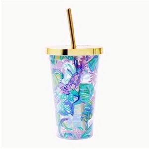 🎉 Lilly Pulitzer Tumbler With Gold Straw & Box